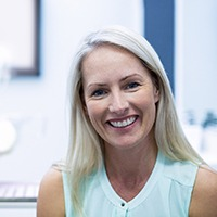 Woman at cosmetic dentist with a beautiful smile.